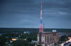 Казанская телебашня окрасилась в цвета российского триколора