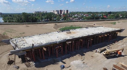 Завершено бетонирование пролетного строения на съезде развязки Фрунзенского моста