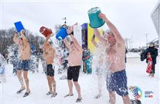 В Самарской Олимпийской деревне обливались водой и играли в американский футбол