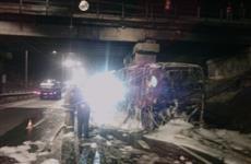 Около Новосемейкино сгорел автобус