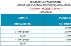 Изменилось расписание переправы Самара - Рождествено