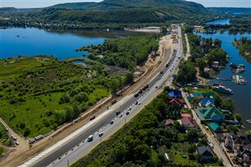 Самарская область: на подъезде к мосту через реку Сок начата укладка асфальта