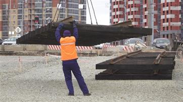 В рамках строительства 1 этапа Большого Казанского кольца началась укладка трамвайных путей