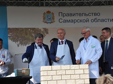 Церемонии закладки символической капсулы в основании поликлиники в 19-м квартале Автозаводского района