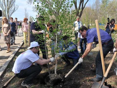 Дмитрий Азаров, Александр Фетисов и Александр Хинштейн сажали деревья в парках города