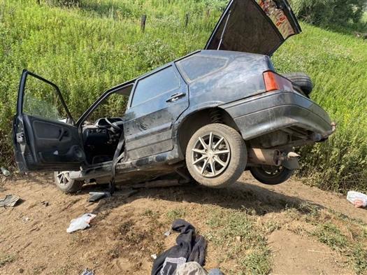 Под Сызранью пострадали водитель и пассажир съехавшей в кювет легковушки