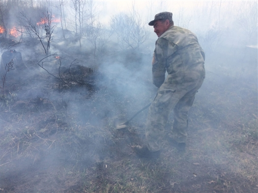 Андрей Крючков тушит лесной пожар